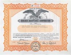 Boulder Acceptance Corporation 1950's - Colorado