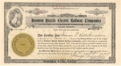 Boynton Bicycle Electric Railway Companies 1907 - Boston - SCARCE