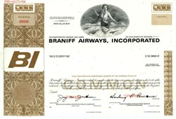 Braniff Airways, Incorporated (Concorde SST in Vignette) Harding Lawrence as President  - 1966