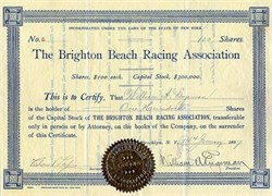 Brighton Beach Racing Association signed by William Engeman, Brighton Beach Founder - New York 1897