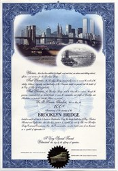Brooklyn Bridge 100th Anniversary Certificate (World Trade Center Buildings in the background)  - New York 1983