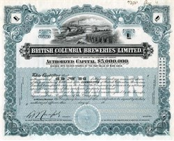 British Columbia Breweries Limited - Canada 1913