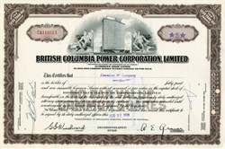 British Columbia Power Corporation uncancelled stock certificate - Canada 1963