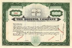 Bristol Company Stock Certificate (Audiophone radio equipment) - Waterbury, Connecticut