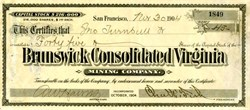 Brunswick Consolidated Virginia Mining Company (Signed by  Chas H. Fish and A. W. Havens - Comstock Fame)  - Virginia City, Nevada - 1904
