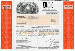 Bre-X Minerals Ltd. Scarce Stock Certificate for 500 shares - Huge Canadian Gold Mining Fraud - 1997