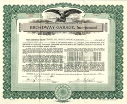 Broadway Garage, Incorporated  - Cincinnati, Ohio 1933