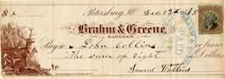 Brahm & Greene Check  - Illinois 1875