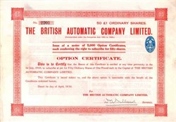 British Automatic Company 1930