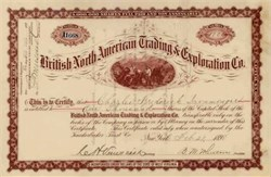 British North American Trading & Exploration Co.  (Alaska - Yukon - Klondike Related Stock) 1898 - New York