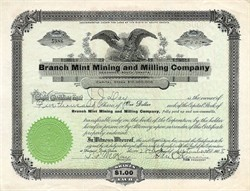 Branch Mint Mining and Milling Company - Deadwood, South Dakota 1908