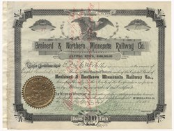 Brainerd & Northern Minnesota Railway Co. Stock Signed By John S. Pillsbury (Pillsbury Company) As President