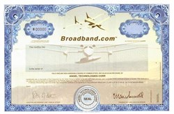 Broadband.com (Dot Com High Flyer)  shows image of airplane designed by Burt Rutan (designer of Spaceship One)