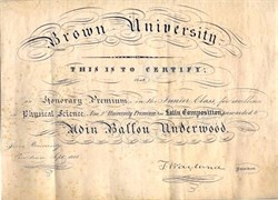 Brown University Certificate signed by Francis Wayland issued to Adin Ballou Underwood (Famous Civil War General) - Providence 1848