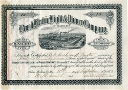 Brush Electric Light & Power Company - RARE Issued Certificate - Early G.E. Company - Montana, Territory 1882