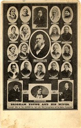 Brigham Young and His Wives Postcard - Salt Lake City, Utah 1909