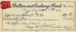Bullion and Exchange Bank of Carson City, Nevada 1899