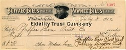 Buffalo Bill's Wild West and Pawnee Bill's Great Far East Show Check signed by Pawnee Bill  (Annie Get Your Gun musical is based on this company) - 1912