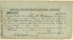 Buffalo Cotton Manufacturing Company -  New York 1845