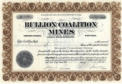 Bullion Coalition Mines - Utah 1910