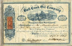 Bull Creek Oil Company issued during Civil War after West Virginia became a state - Pleasants County, West Virginia 1864