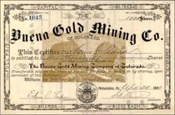 Buena Gold Mining Co of Colorado 1880