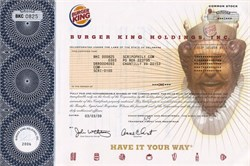 Burger King Holdings, Inc. - No longer issuing stock certificates