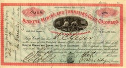 Buckeye Mining and Tunneling Co. of Colorado - Custer. Silver Cliff, Colorado 1880