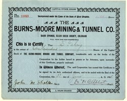 Burns-Moore Mining & Tunnel Co. - Idaho Springs, Clear Creek County, Colorado - 1906