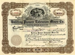 Bullfrog Pioneer Extension Mines Company - Arizona 1916