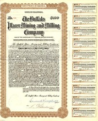 Buffalo Placer Mining and Milling Company Gold Bond - Breckenridge, Colorado 1913
