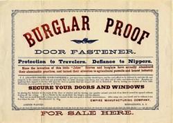Burglar Proof Door Fastener Broadside - New York