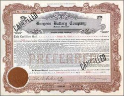 Burgess Battery Company signed by Founder Dr. Burgess 1920
