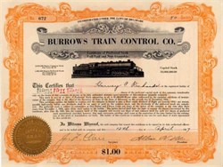 Burrows Train Control Company 1927