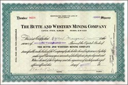 Butte and Western Mining Company 1926