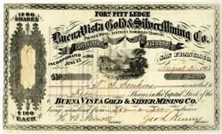 Buena Vista Gold & Silver Mining Co. - Fort Pitt Ledge - Prince Roya. District. Humboldt County, Nevada Territory 1863