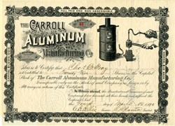 Carroll Aluminum Manufacturing Company (Makers of Aluminum Dental Plates and Bridges)  - Virginia 1890
