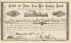 Catskill and Albany Steam Boat Company, Limited - New York 1885