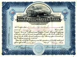Calumet and Copper Creek Mining Company - Arizona 1912