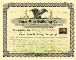 Cape Ann Building Co. -  Gloucester, Massachusetts 1902