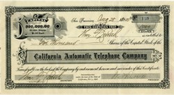 California Automatic Telephone Company - San Francisco, California 1900