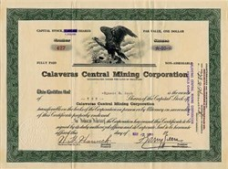 Calavers Central Mining Corporation- Angles Camp, California 1930