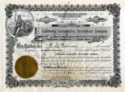 California Cooperative Investment Company - San Francisco, California 1909