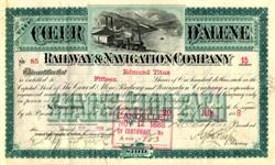 Coeur d'Alene Railway & Navigation Company - Montana 1888 signed by Daniel C. Corbin