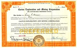 Cactus Exploration and Mining Corporation (convertible preferred stock certificate #1)  - New York 1934
