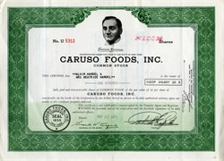 Caruso Foods, Inc. (Photograph vignette of Enrico Caruso and facsimile signature) - 1971 New York 1971
