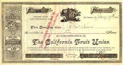California Fruit Union signed by Horatio P. Livermore   - San Francisco, California 1886