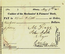 New York Canal Fund Check signed by John Dix - 1836