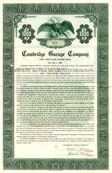 Cambridge Garage Company $1,000 Bond - Massachusetts 1937