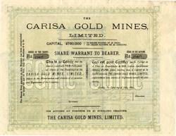 Carisa Gold Mines Limited - Utah. Juab. Marysvale. London Corporation -  1889